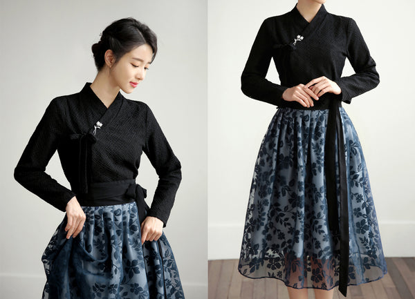 Add a touch of Korean heritage anywhere you go with this dark black check modern hanbok blouse.