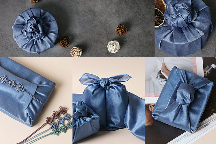 It's not difficult to wrap circular gifts if you use the navy single sided Bojagi Korean wrapping cloth.