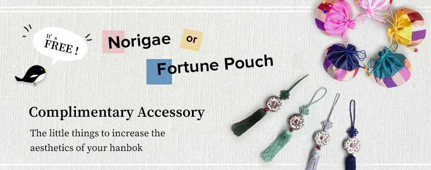 To give the slate baby boy hanbok even more appeal, we offer a free Norigae or Fortune Pouch with your order.