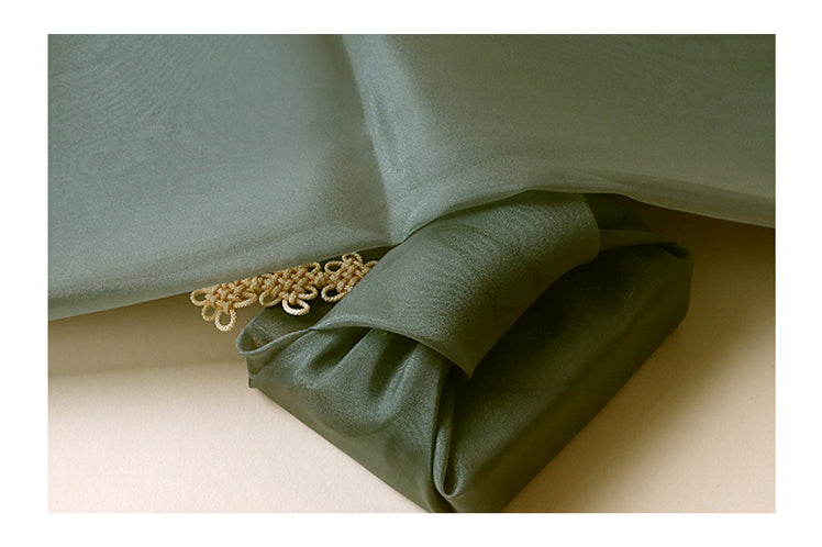 Delicate olive Bojagi fabric is one of the most popular Korean wrapping cloth styles due to it's vibrant appearance.