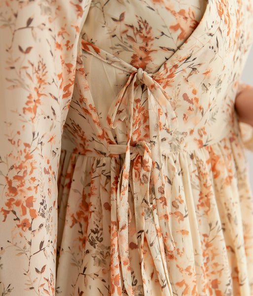 An up-close look at the floral print on the saddle flower modern hanbok dress.