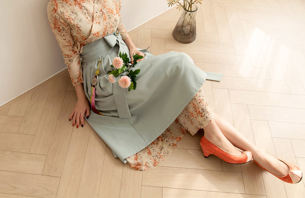 You'll smile and feel like dancing while wearing this cinnamon colored flower modern hanbok dress.