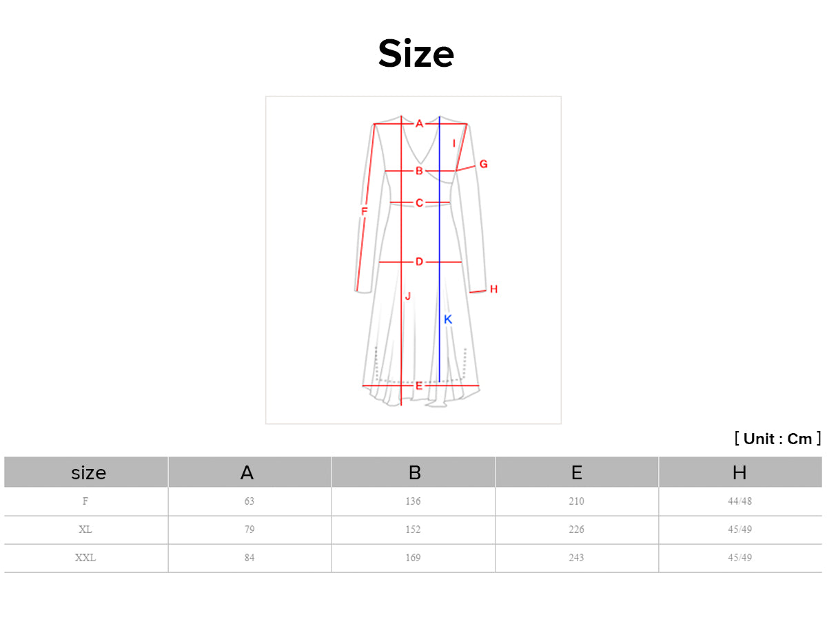 Purchase the modern hanbok dress in azure diamond print with our handy sizing chart.