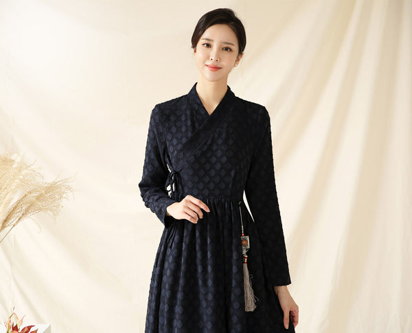 Look elegant and sophisticated with this azure diamond modern hanbok dress offered on Joteta.
