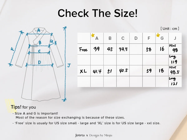 Joteta has a sizing chart on each product so you can determine which size is appropriate for you.