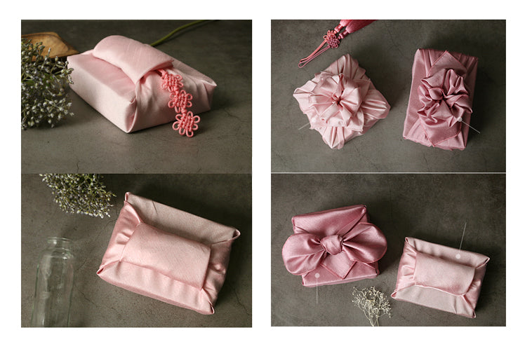 A light pink single sided Bojagi Korean fabric cloth makes a seamless finish for any present.