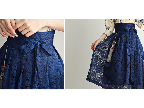A look at the sheer deep blue coloring on this modern hanbok dress. It's ideal for spring Korean celebrations, but casual enough to wear out with friends.