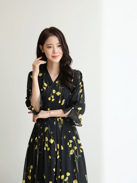 You're going to feel more love and happiness wearing this onyx and yellow flower modern hanbok dress.