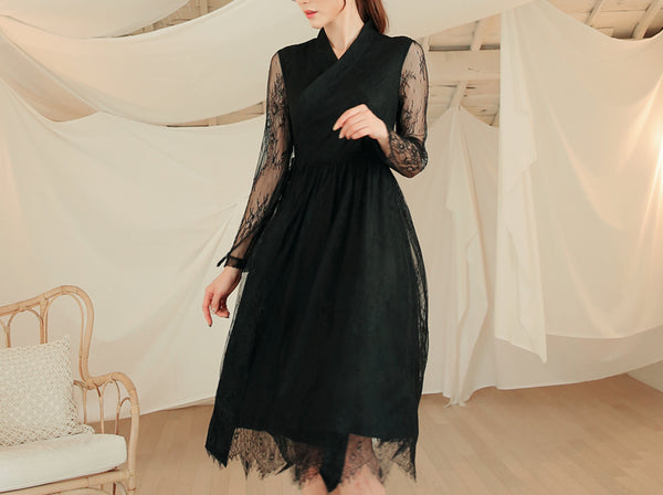 A dark black modern hanbok dress is a great way to bring elements of Korean hanbok to more casual events.