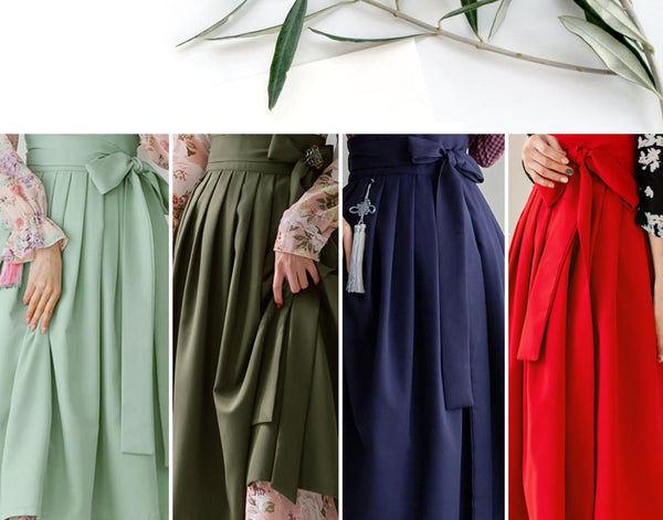 This is a selection of our modern hanbok skirts that are available with our dresses. Fancy your modern hanbok with a selection of beautiful skirts that are made in Korea. We provide skirts in colors: red, green, purple, and beige.