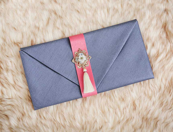 Tassel & Ornament Korean Wedding Money Envelope in Gray that's used for special traditions by Koreans and friends of Koreans.