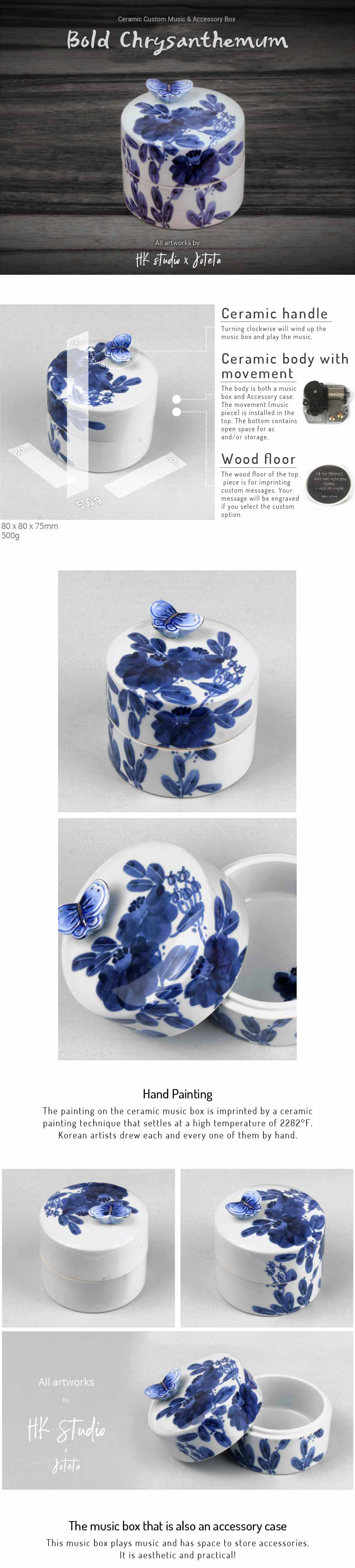 Bold Chrysanthemum Ceramic Custom Music Box that you can fully personalize by choosing your own tune and special message to engrave within the top piece of the music box.
