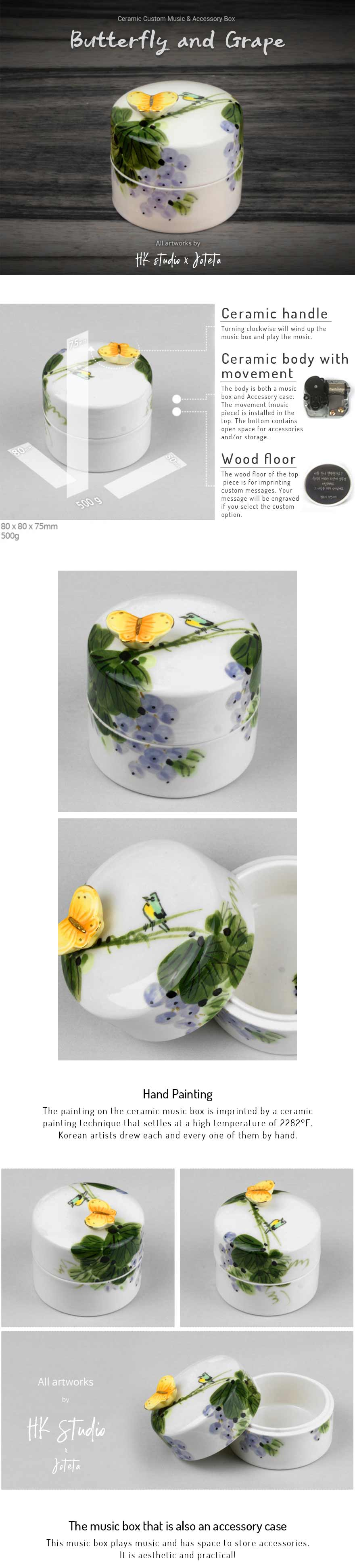 Butterfly and Grape Ceramic Custom Music Jewelry Box. Handmade by Koreans and you can customize the box by picking a song and writing your own customized message.