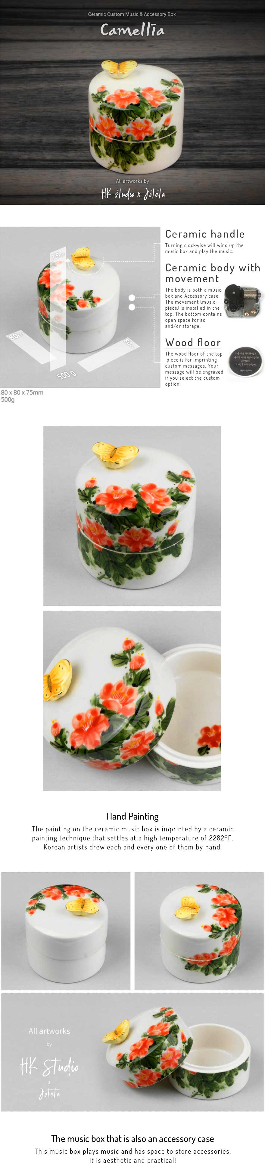 The Camellia Ceramic Custom Music Jewelry Box is authentic and Korean and offers you the ability to engrave and choose a song to personalize the box for your loved one.