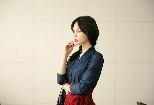 Look gorgeous and casual in this deep navy modern hanbok dress for sale on Joteta.