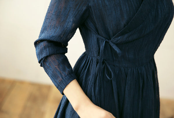 Feel comfortable and stylish when you put on this azure modern hanbok dress.