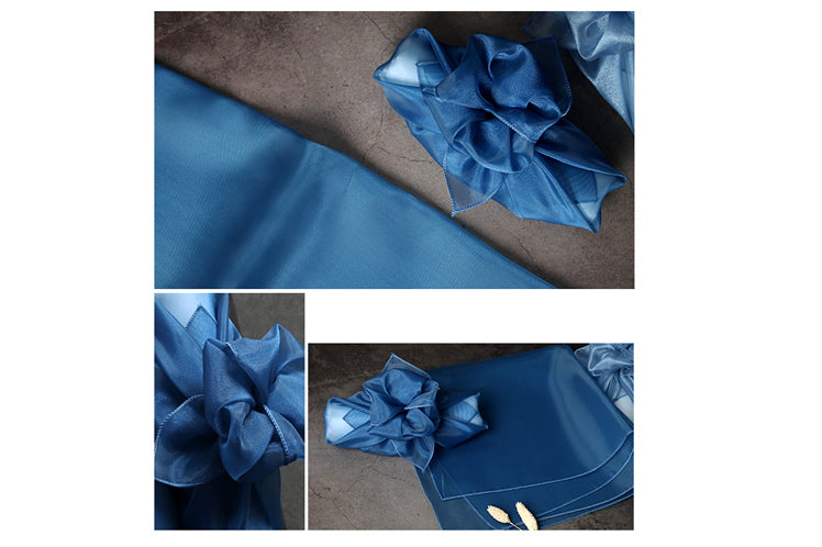 Spice up the look of your gift-giving with this saxe blue Korean fabric cloth Bojagi.