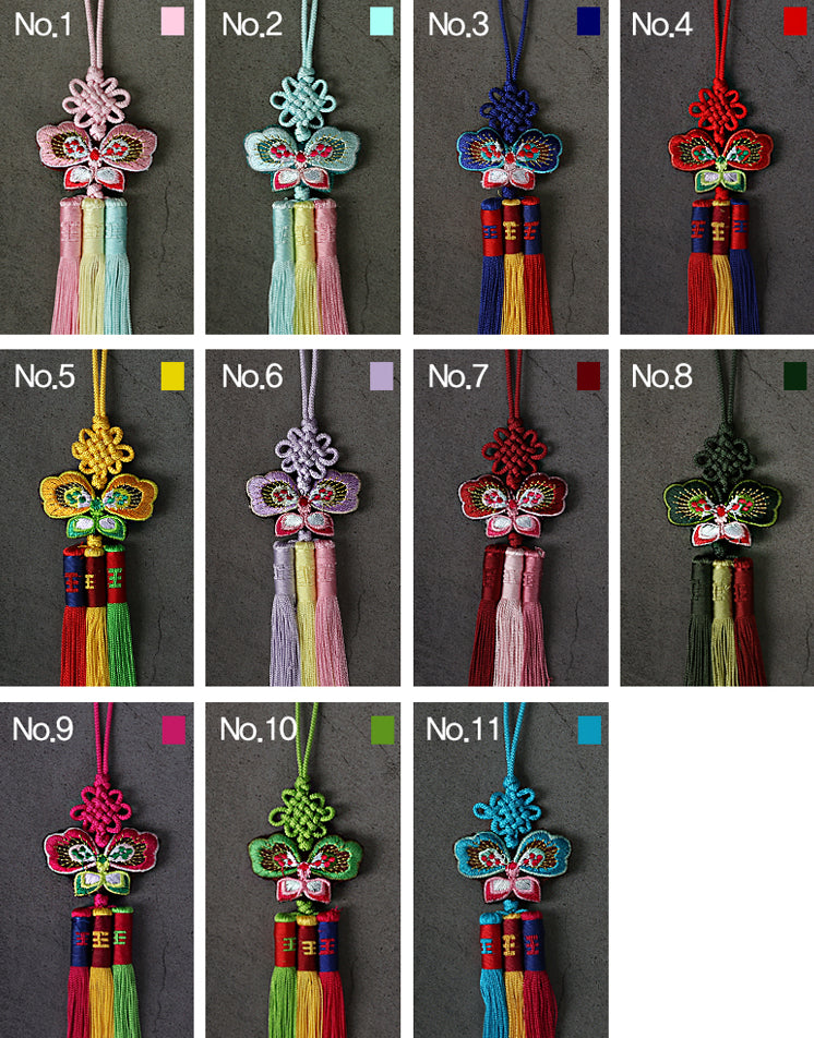 The variety of colors offered in the Cute Butterfly Trio Tassel Norigae makes it perfect for both hanbok and Bojagi.