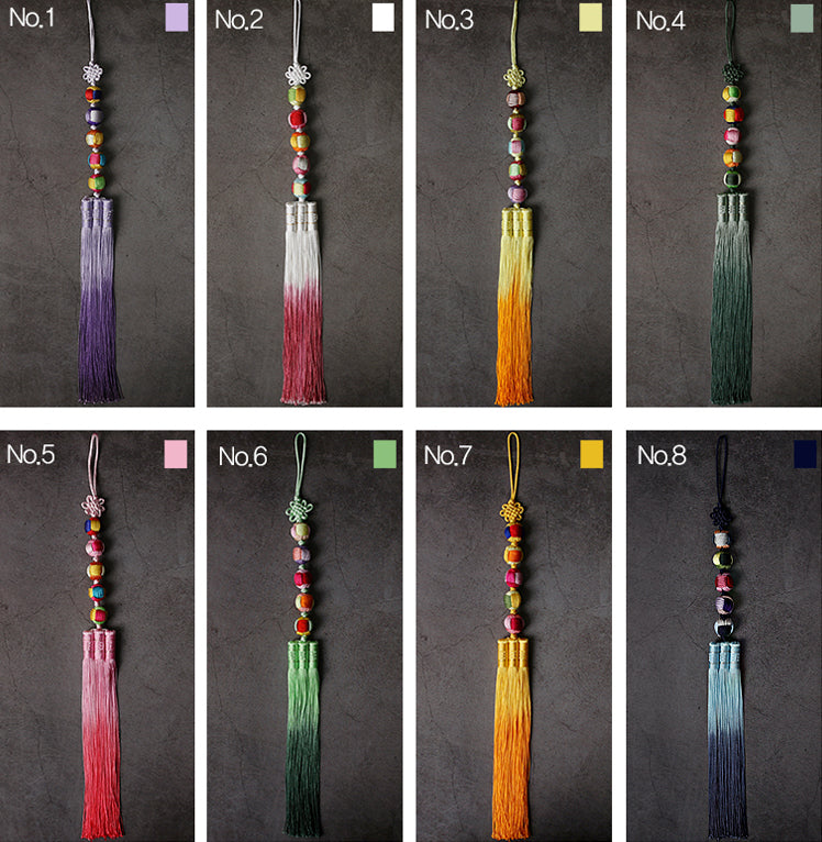 An up close look at all of the colors options we have for the Five Elements Trio Tassel Norigae.