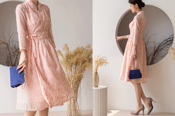 Feel womanly and pretty n this light pink flower modern hanbok dress.