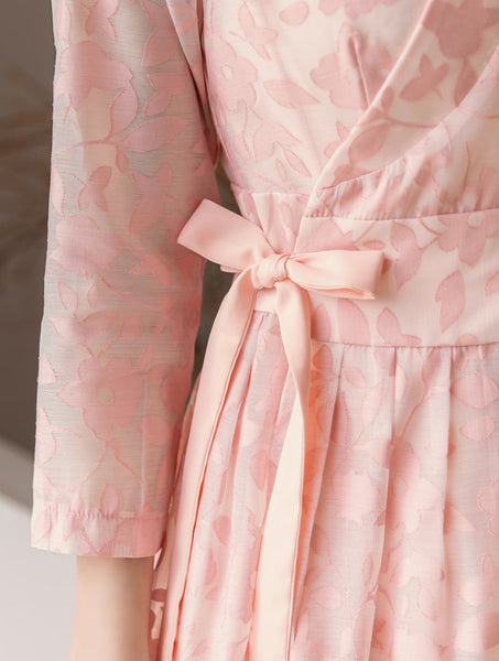An up-close look at the floral print on this rose modern hanbok dress for sale.