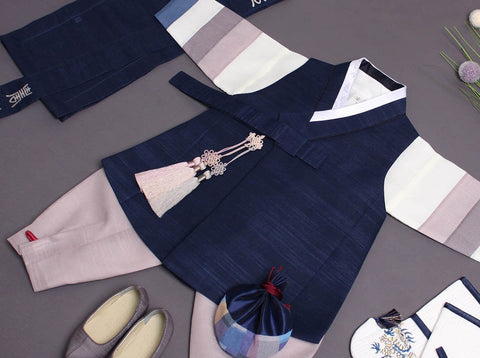 Here is a better look at the baby boy hanbok in dark blue. It's going to really bring out the Korean in your baby.