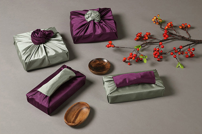 Reusable gift wrap allows you to use it for multiple special occasions and you can change the color you want to be dominant, whether it's plum or tan.