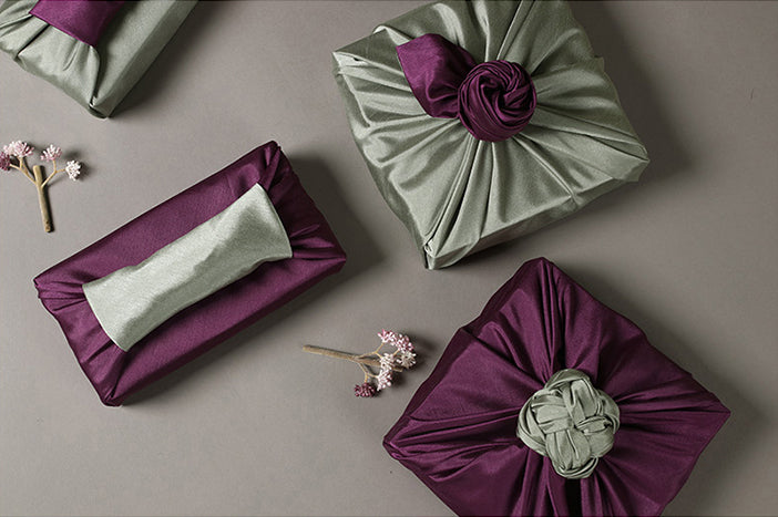 This double sided Korean Bojagi wrapping cloth in the colors perse and brick go well with any festive Korean holiday.