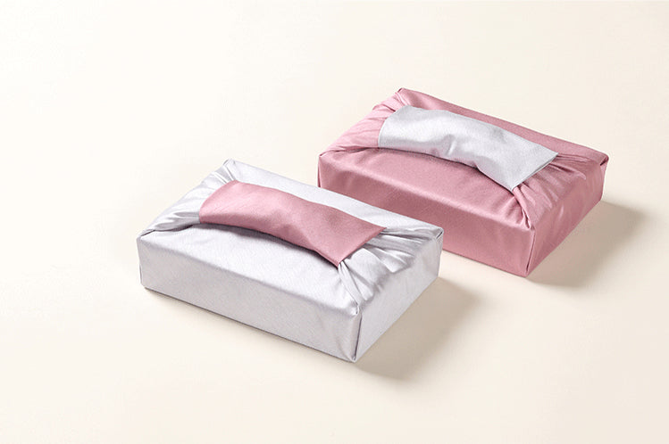 Indie pink and silver double sided Bojagi lets you determine which side you want to be the primary color for your Korean fabric wrapping, and it's great for a baby girl Doljanchi celebration.