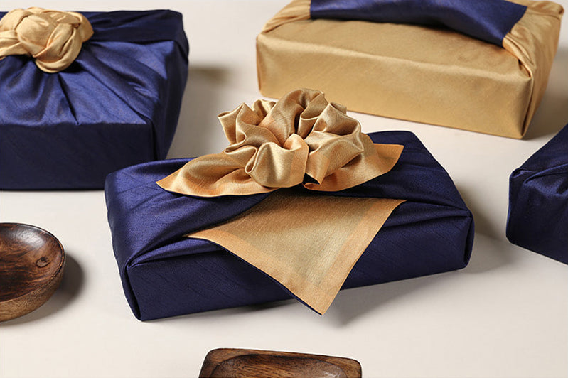 Taupe and deep blue work together to create a superb fabric wrapping suited for both Doljanchi and Christmas Day.