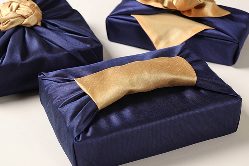 Jazz up any present that you want to wrap with fabric with the Korean Bojagi in copper and sea color.