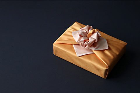 This cantaloupe and lemon double sided Bojagi art is wonderful luxury gift wrap for any special occasion.