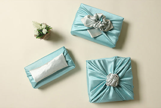 Aquamarine and cream double sided Korean Bojagi makes a terrific fabric wrapping for a baby boy Doljanchi.