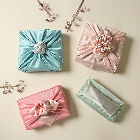Cyan and fawn are just one type of Bojagi for sale we offer on this website if you want to add charm to your presents using fabric wrapping cloth.