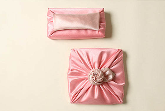 Bojagi fabric is high-quality and superior to other fabric wrapping cloths to give you a lasting reusable gift wrap. This dark salmon and deep ivory are a perfect example.