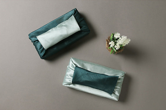 Forest green and cyan double sided Bojagi is delightful for any Korean occasion such as Seollal or Christmas.
