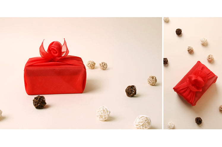 Scarlet lucid Korean Bojagi is the most luxurious gift wrap for showering that little girl you love with positive energy.