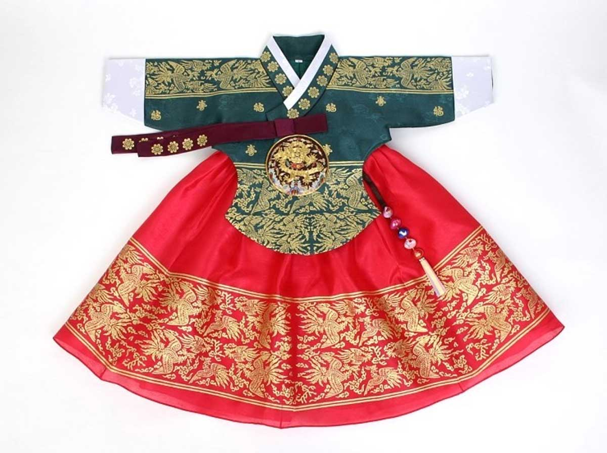 Your baby girl will look culturally Korean when she wears this olive and carmine hanbok.
