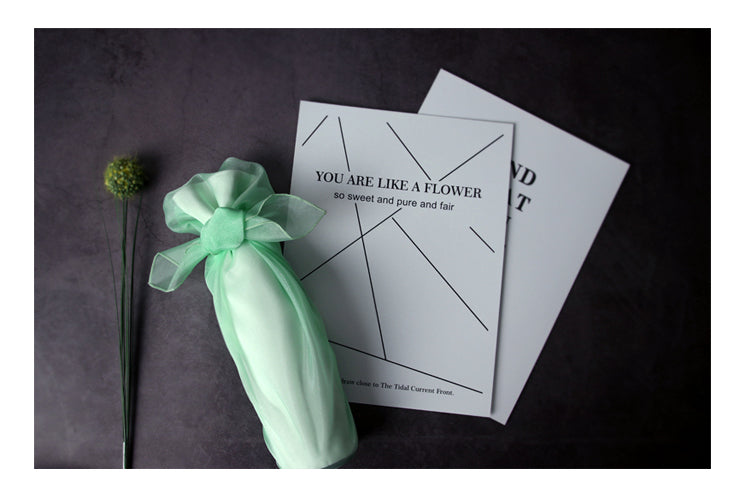 Gift a friend a bottle of wine wrapped in luxurious fabric cloth and this mint color is enchanting for a spring fling.