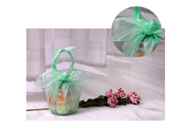 Decorate a basket with this sage lucid Korean Bojagi fabric wrapping to bring a delightful look to usually boring items.
