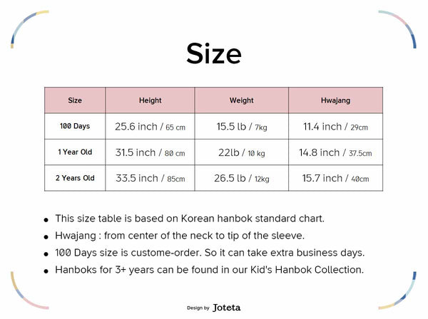 Size Chart of Friendly Princess Baby Girl Hanbok in Orange & Ivory
