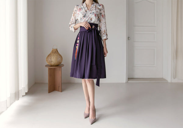 Feel womanly and empowered in this beautiful alabaster flower modern hanbok dress.