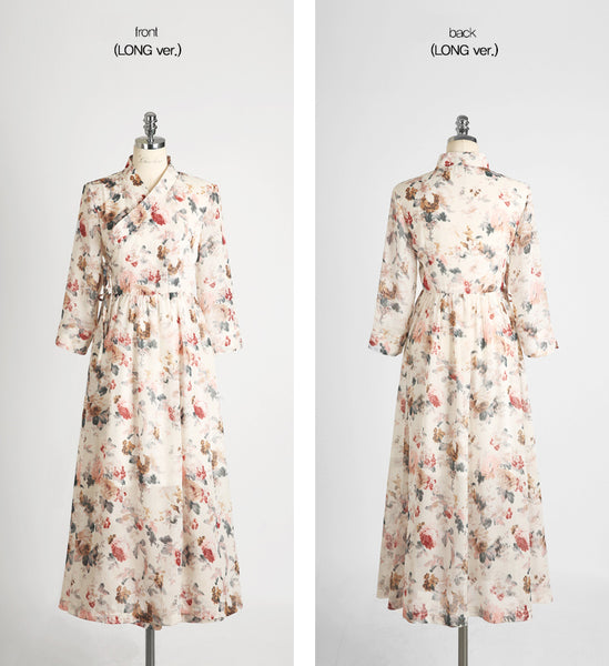 The milk white stunning and multicolored  flower modern hanbok dress will allow you to feel Korean everyday.