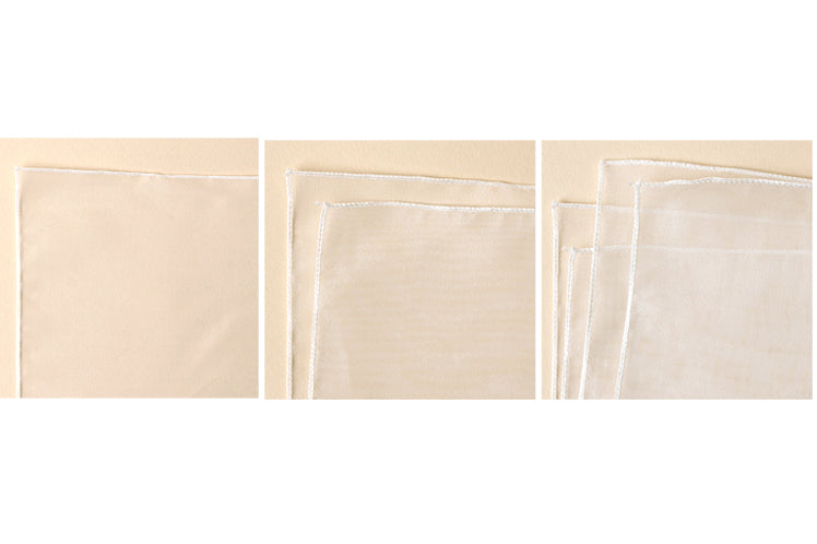 The ivory Bojagi for sale comes in so many variable sizes so you can wrap your treasure without worrying about too much or too little fabric wrapping cloth.