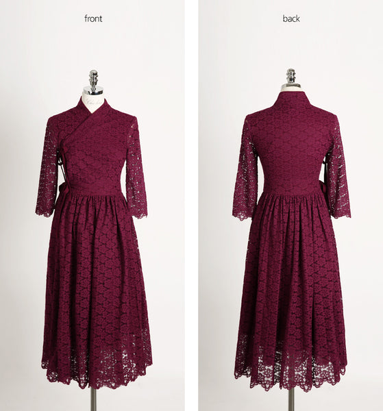 You can really see how vibrant and supple this dark cherry red flower modern hanbok dress looks in this view.