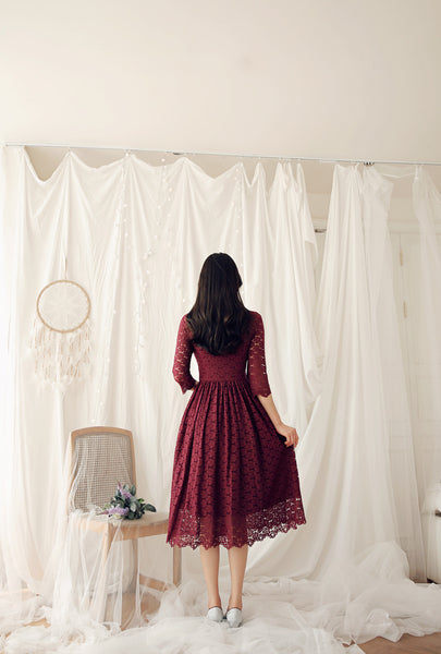 Look breathtaking and blushing in this blood red flower modern hanbok dress for sale.