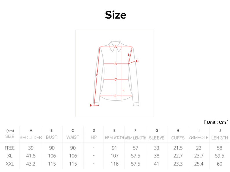 Joteta has provided a size chart so that you'll be able to pick the frill modern hanbok blouse that matches your own size.