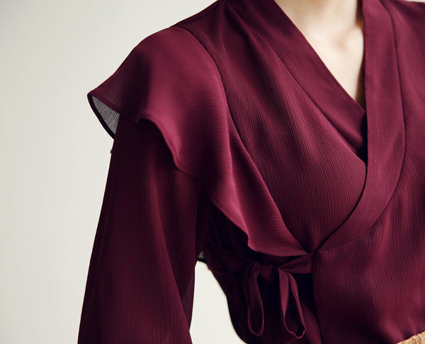 Look pretty and also timeless in this dark red frill modern hanbok blouse.