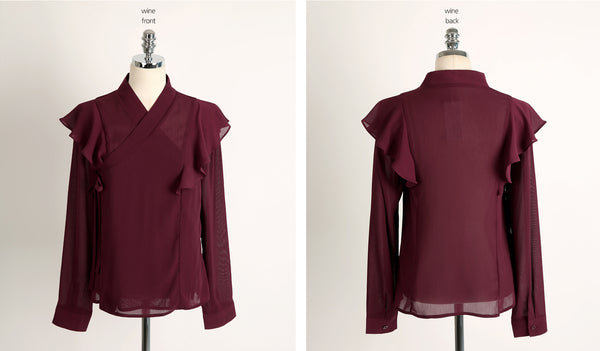 You can see just how amazing and beautiful this dark red modern frill hanbok blouse is with this full frontal view.
