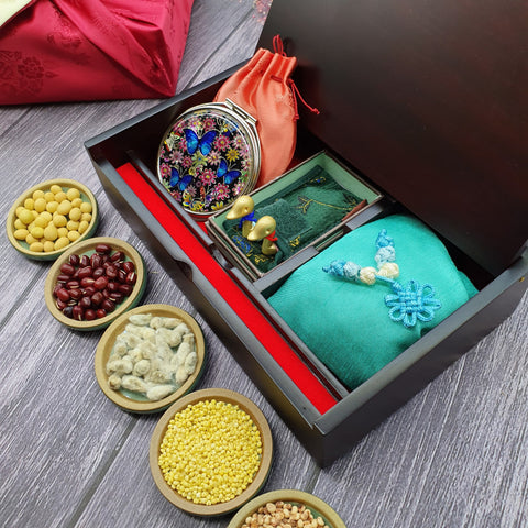 The Wolhak Korean wedding gift set includes a mother of pearl jewelry box, golden wedding ducks, and a fortune pouch full of 5 different grains.